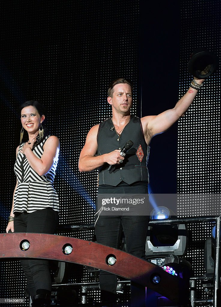 Vocal Duo of the Year Singers/Songwriters Thompson Square who are Shawna Thompson and Keifer Thompson perform during the Dirt Road Diaries Tour 2013...
