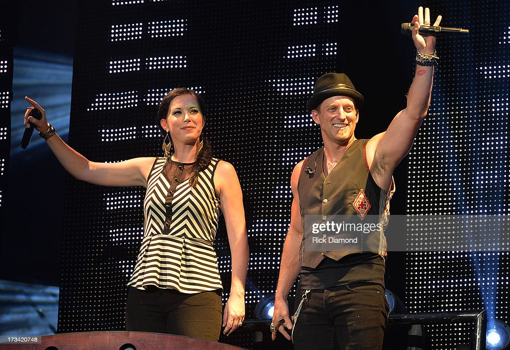 Vocal Duo of the Year - Singers/Songwriters Thompson Square who are Shawna Thompson and Keifer Thompson perform during the Dirt Road Diaries Tour 2013 on July 13, 2013 at Time Warner Cable Music Pavilion in Raleigh, North Carolina.