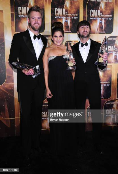 Vocal Group of the Year and Single of the Year Winners Charles Kelley Hillary Scott and Dave Haywood of Lady Antebellum attend the 44th Annual CMA...