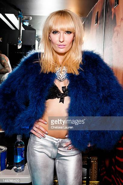 Vocalist Ace of Diamonds poses backstage at Diamond Baby performs at The Viper Room on May 24 2012 in West Hollywood California
