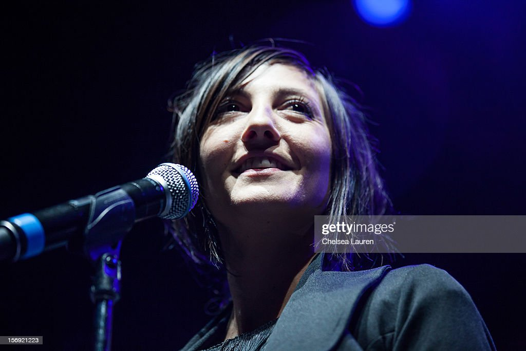 Vocalist Aja Volkman of Nico Vega performs at Gibson Amphitheatre on November 24, 2012 in Universal City, California.