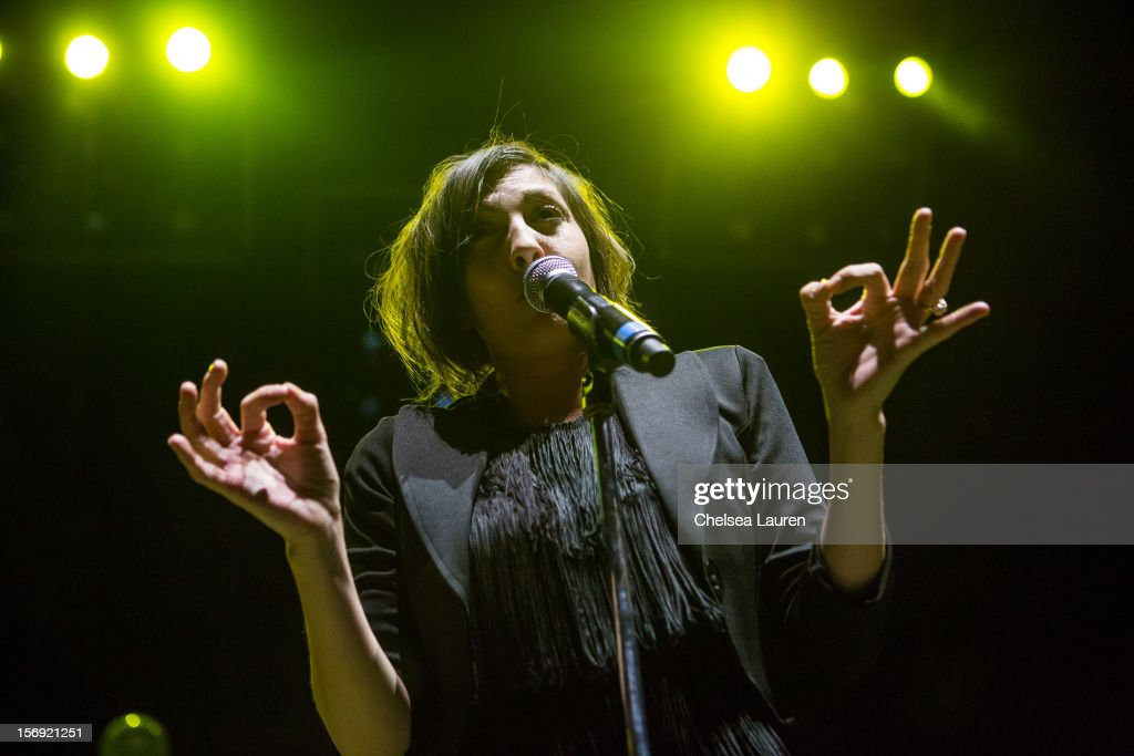 Vocalist Aja Volkman of Nico Vega performs at Gibson Amphitheatre on November 24, 2012 in Universal City, California.
