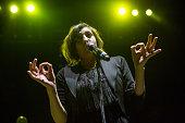 Vocalist Aja Volkman of Nico Vega performs at Gibson Amphitheatre on November 24 2012 in Universal City California
