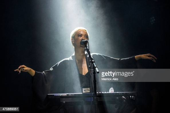 Vocalist Alisa Xayalith of The Naked and Famous performs at The Frank Erwin Center on February 20 2014 in Austin Texas