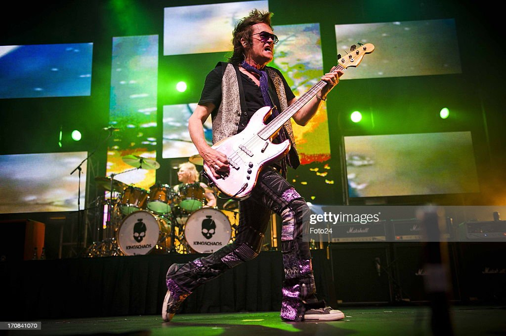 Vocalist and bass guitarist Glenn Hughes during the Kings of Chaos concert on June 16, 2013 in Sun City, South Africa. Kings of Chaos performed in Sun City on June 15 and 16, 2013.