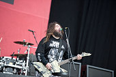 Vocalist and guitarist Max Cavalera of heavy metal group Cavalera Conspiracy performing live on stage at Download Festival on June 14 2015