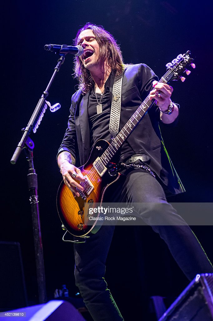 Vocalist and guitarist Myles Kennedy of American rock group Alter Bridge performing live on stage at Wembley Arena in London, on October 18, 2013.