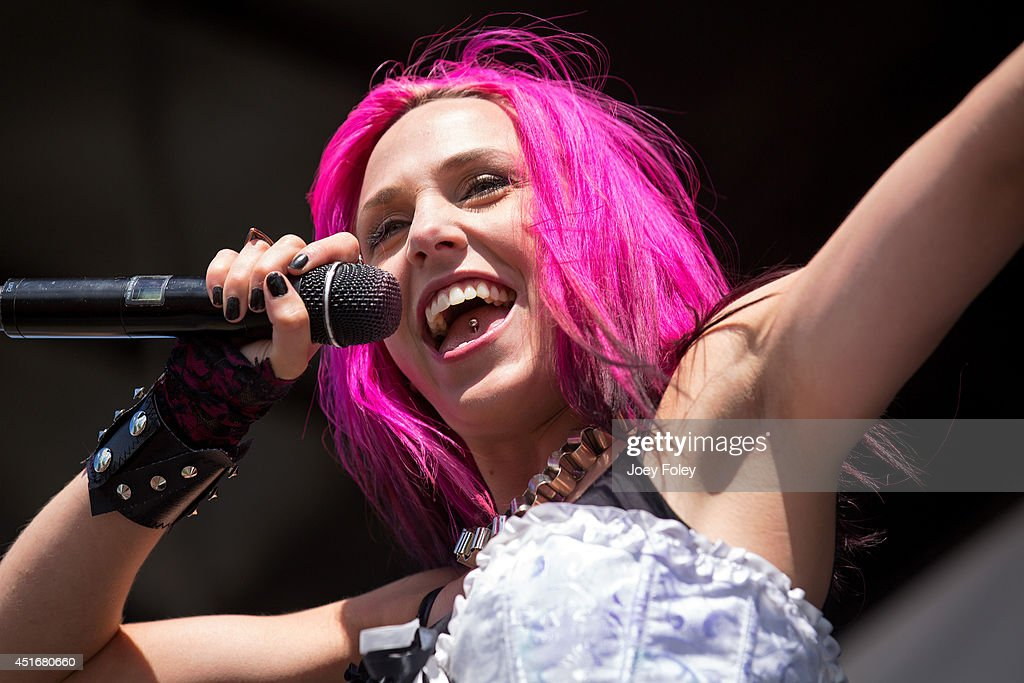 Vocalist Ariel Bloomer of Icon for Hire performs during the Van's Warped Tour 2014 at Klipsch Music Center on July 3 2014 in Noblesville Indiana