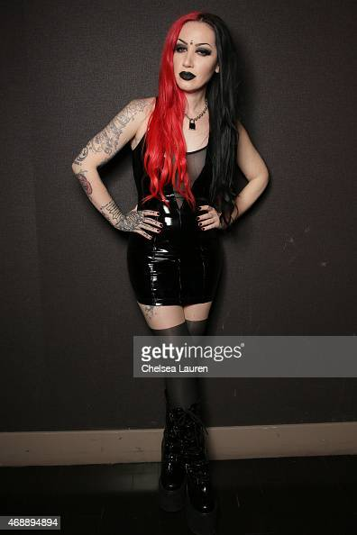 Vocalist Ashley Costello of New Years Day poses at the Vans Warped Tour kickoff at Club Nokia on April 7 2015 in Los Angeles California