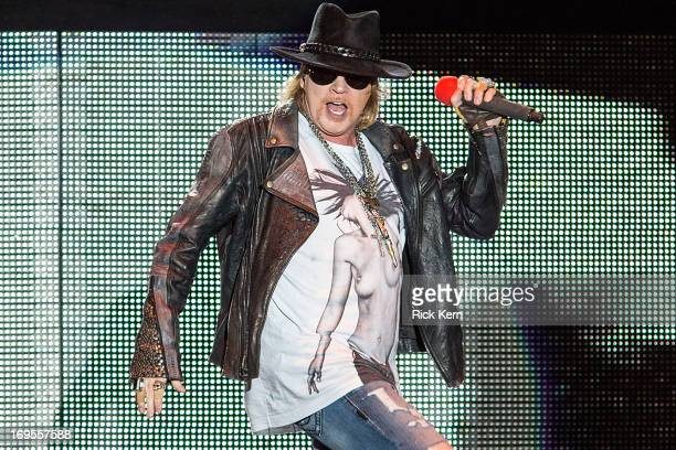 Vocalist Axl Rose of Gun N' Roses performs in concert during River City Rockfest at the ATT Center on May 26 2013 in San Antonio Texas