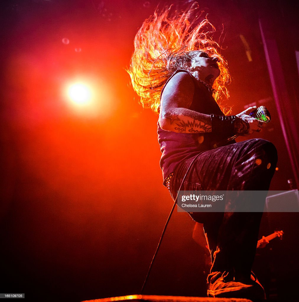 Vocalist B. Dez Fafara of Coal Chamber performs at Club Nokia on March 29, 2013 in Los Angeles, California.