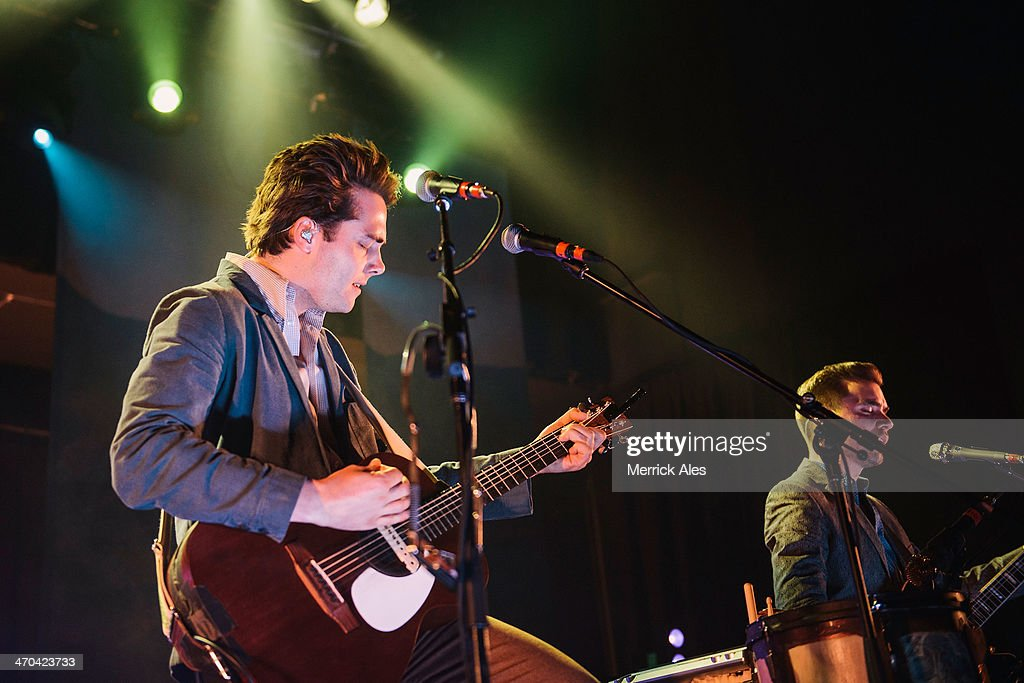Vocalist Ben Schneider (L) of Lord Huron perfoms at Emo's on February 18, 2014 in Austin, Texas.
