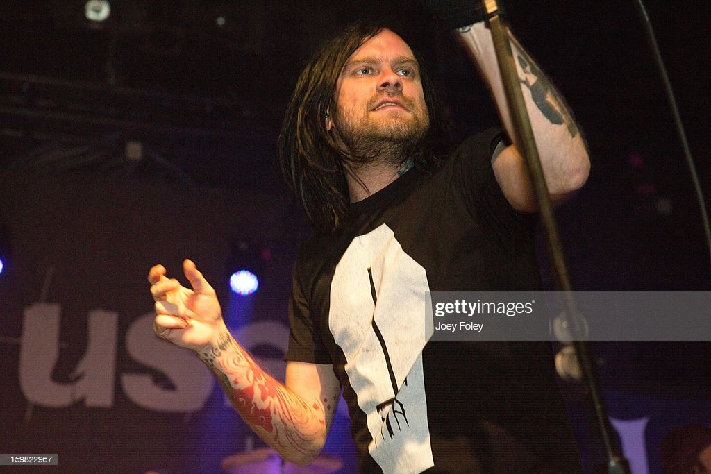 Vocalist Bert McCracken of the rock band The Used of performs onstage at the Murat Egyptian Room on January 20, 2013 in Indianapolis, Indiana.