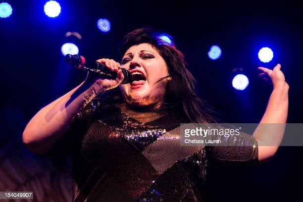 Vocalist Beth Ditto of Gossip performs at The Fonda Theatre on October 12 2012 in Los Angeles California