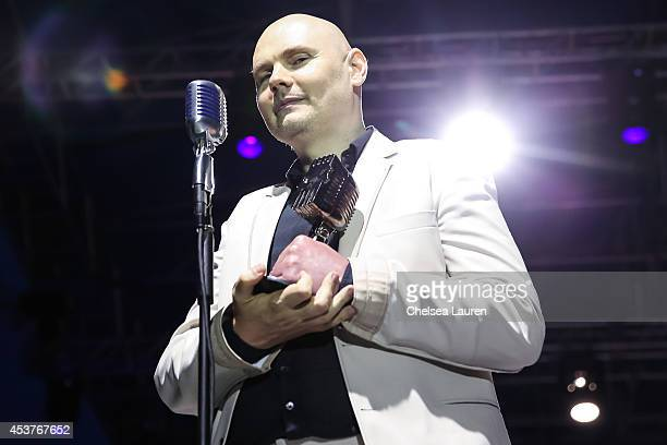 Vocalist Billy Corgan of Smashing Pumpkins accepts the 'Vanguard' award at the 2014 Gibson Brands AP Music Awards at the Rock and Roll Hall of Fame...