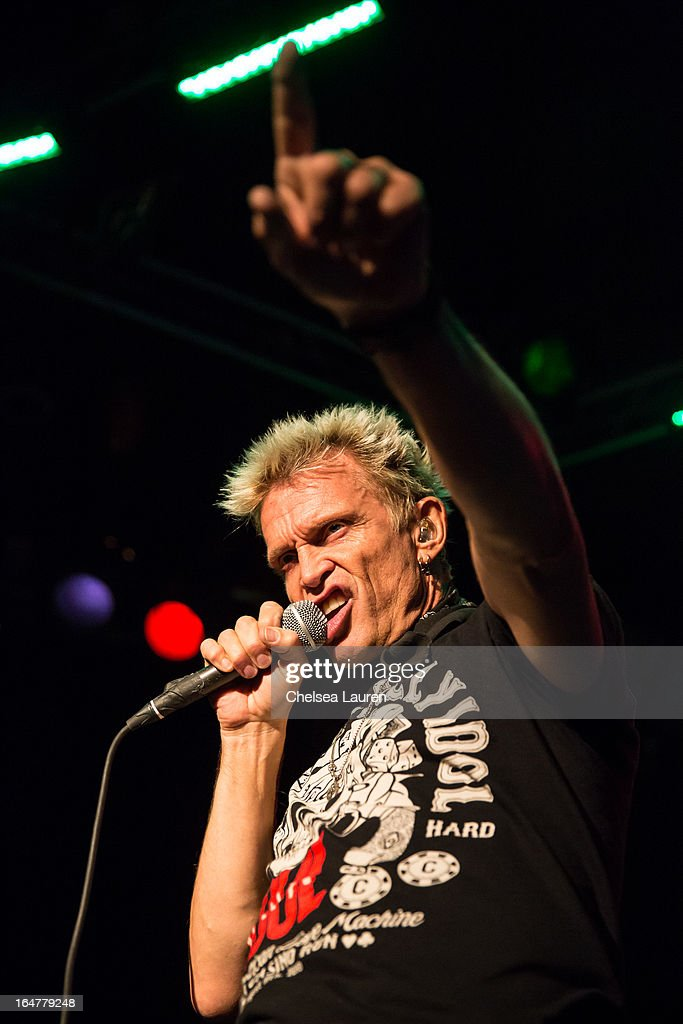 Vocalist <a gi-track='captionPersonalityLinkClicked' href=/galleries/search?phrase=Billy+Idol&family=editorial&specificpeople=138578 ng-click='$event.stopPropagation()'>Billy Idol</a> performs at the Rock Against MS benefit concert at The Whisky a Go Go on March 27, 2013 in West Hollywood, California.