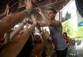 Vocalist Brian Cag of Action Item performs during the 2013 Van Warped Tour at Riverbend Music Center on July 30 2013 in Cincinnati Ohio