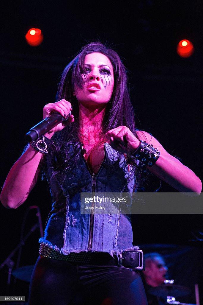 Vocalist Carla Harvey of Butcher Babies performs at Bogart's on January 19, 2013 in Cincinnati, Ohio.