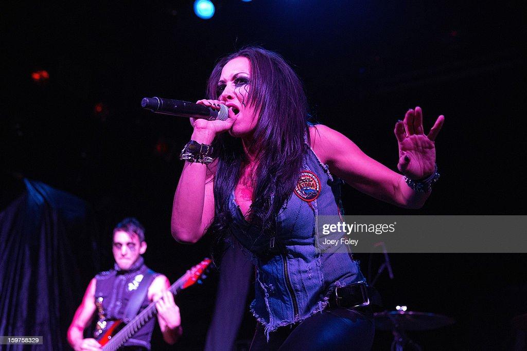 Vocalist Carla Harvey of Butcher Babies performs onstage at Bogart's on January 19, 2013 in Cincinnati, Ohio.