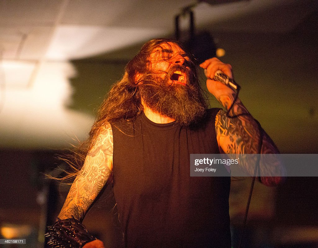 Vocalist Chance Garnette of Skeletonwitch performs at The Rock House on January 11, 2014 in Indianapolis, Indiana.