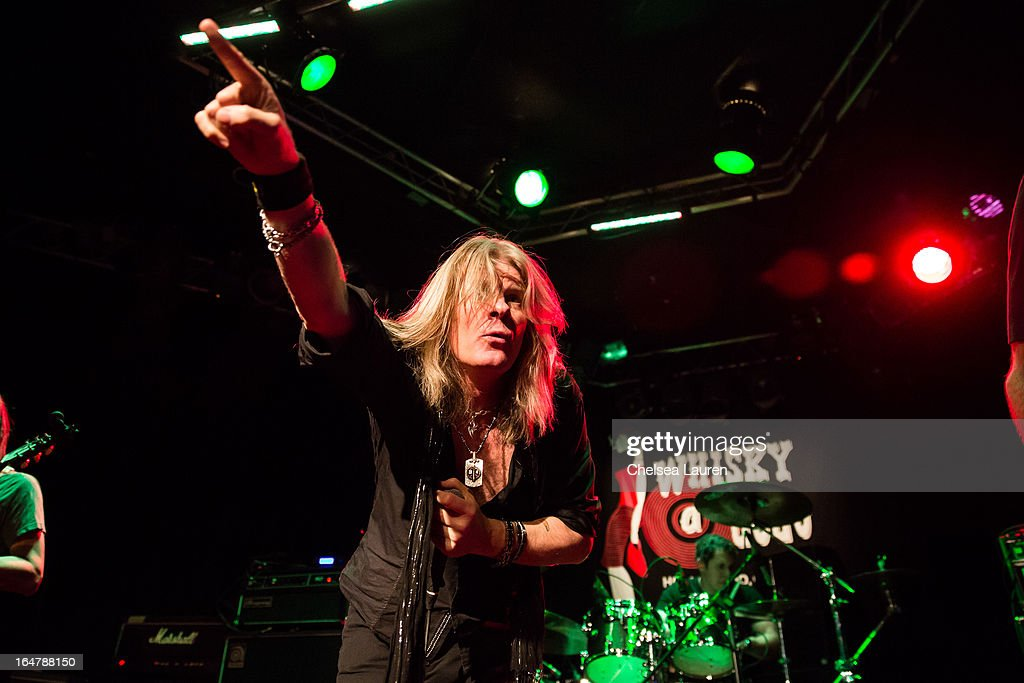 Vocalist Chas West performs at the Rock Against MS benefit concert at The Whisky a Go Go on March 27, 2013 in West Hollywood, California.