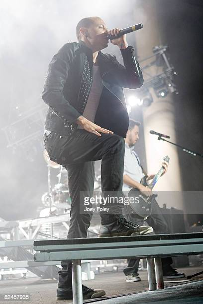 Vocalist Chester Bennington of Linkin Park performs live in concert during the Projekt Revolution Tour at the Verizon Wireless Music Center on August...