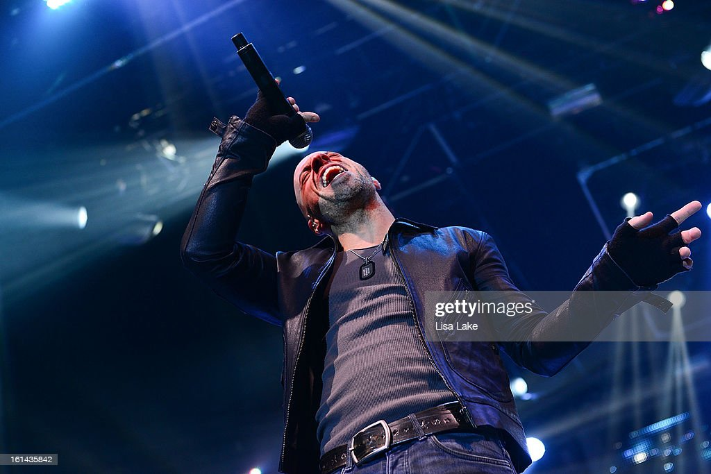 Vocalist <a gi-track='captionPersonalityLinkClicked' href=/galleries/search?phrase=Chris+Daughtry&family=editorial&specificpeople=614842 ng-click='$event.stopPropagation()'>Chris Daughtry</a> of Daughtry performs in concert at Sands Event Center on February 10, 2013 in Bethlehem, Pennsylvania.