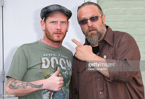 Vocalist Corey Taylor and percussionist Shawn Crahan aka Clown of the band Slipknot attend 'A Conversation With Slipknot' presented by Musicians...