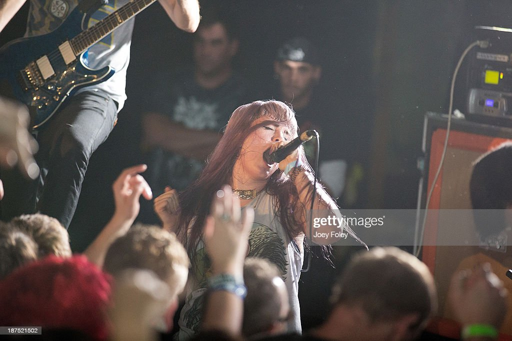 Vocalist Courtney LaPlante of The Metalcore band Iwrestledabearonce performs in front of a sold out crowd at The Emerson Theater on October 27, 2013 in Indianapolis, Indiana.