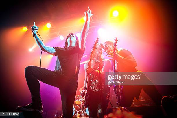Vocalist Craig Mabbitt and guitarist Kevin Gruft of Escape The Fate perform at Electric Ballroom on February 16 2016 in London England