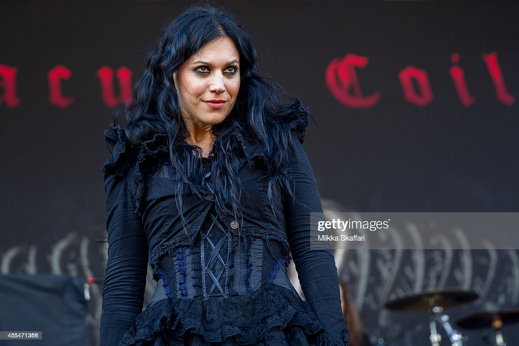 Vocalist Cristina Scabbia of Lacuna Coil performs at Aftershock Festival at Discovery Park on September 14 2014 in Sacramento California