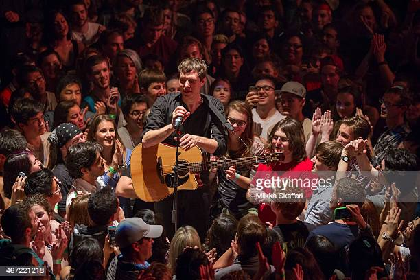 Vocalist Damian Kulash of OK Go performs at The Warfield on March 21 2015 in San Francisco California