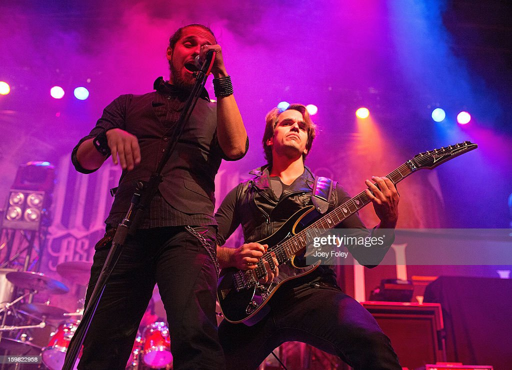 Vocalist Danilo Herbert and guitarist Rodrigo Hidalgo of the rock band Mindflow performs onstage at the Murat Egyptian Room on January 20, 2013 in Indianapolis, Indiana.