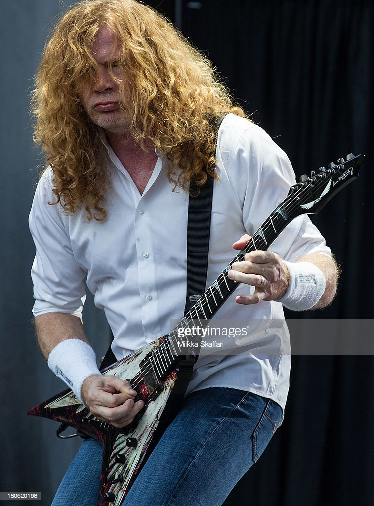 Vocalist Dave Mustaine of Megadeth performs in Monster Energy's Aftershock Festival at Discovery Park on September 14, 2013 in Sacramento, California.