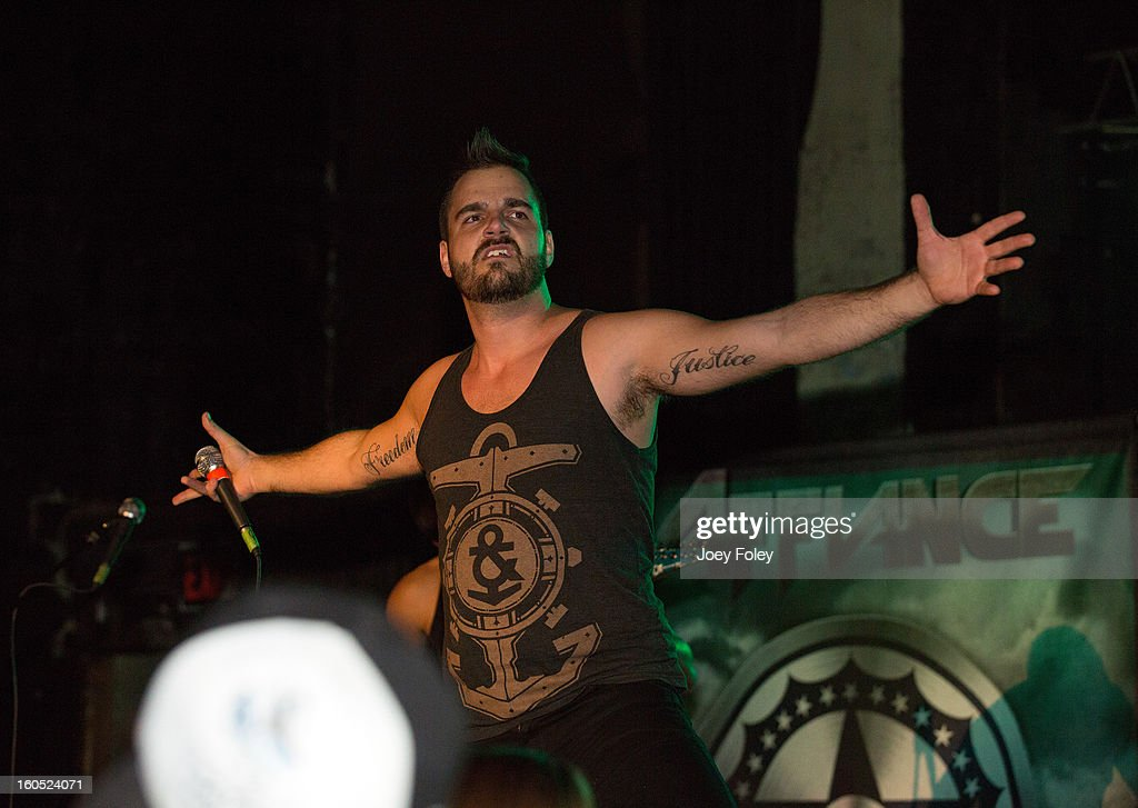 Vocalist Dennis Tvrdik of Affiance performs at The Emerson Theater on February 1, 2013 in Indianapolis, Indiana.
