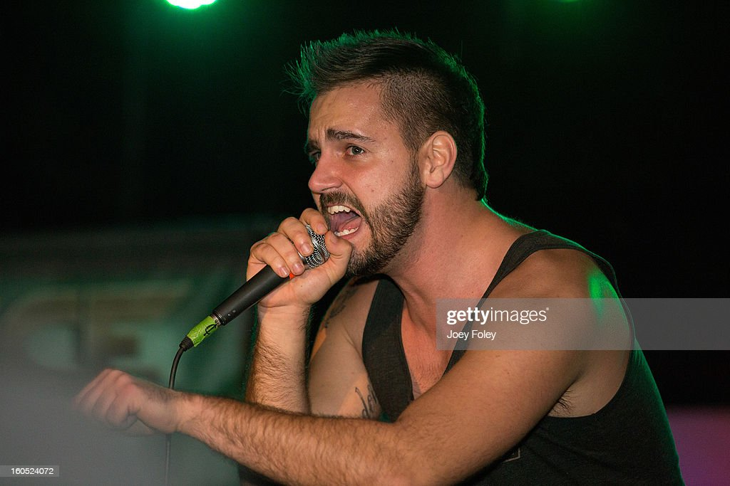 Vocalist Dennis Tvrdik of the Metalcore band Affiance performs at The Emerson Theater on February 1, 2013 in Indianapolis, Indiana.