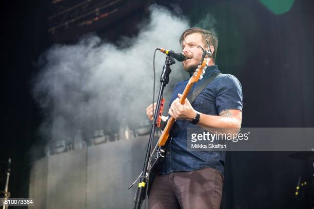 Vocalist Dustin Kensrue of Thrice performs at Concord Pavilion on July 6 2017 in Concord California