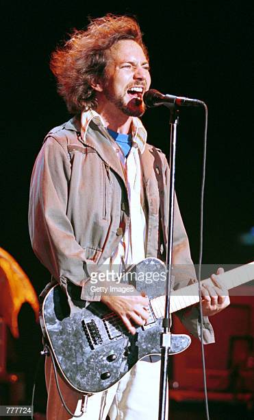 Vocalist Eddie Vedder of Pearl Jam performs August 23 2000 at the Jones Beach Theatre in Long Island