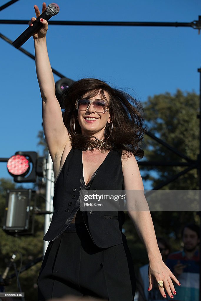 Vocalist Elizabeth Harper of Class Actress performs in concert during day three of Fun Fun Fun Fest at Auditorium Shores on November 4, 2012 in Austin, Texas.