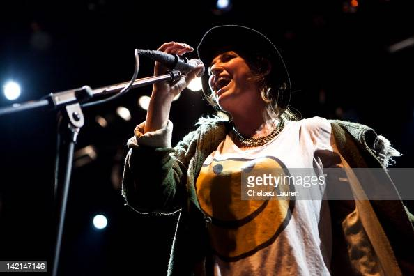Vocalist Emily Armstrong of Dead Sara performs at the Vans Warped Tour 2012 kick off party and press conference at Club Nokia on March 29 2012 in Los...