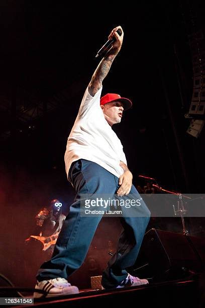 Vocalist Fred Durst of Limp Bizkit performs at the Epicenter Rock Festival at Verizon Wireless Amphitheater on September 24 2011 in Irvine California