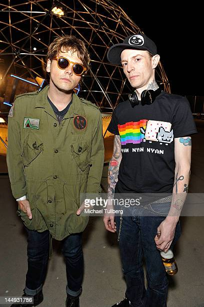 Vocalist Gerard Way of My Chemical Romance and electronic music artist Deadmau5 on the set of Deadmau5' new music video 'Professional Griefers' on...