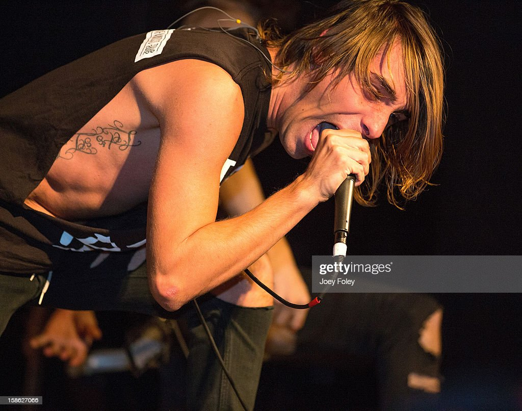 Vocalist Gianluca Molinari of Upon This Dawning performs at The Irving Theater on December 18, 2012 in Indianapolis, Indiana.