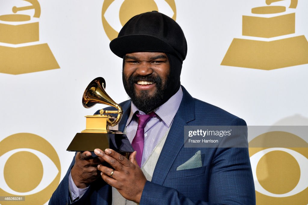 Vocalist <a gi-track='captionPersonalityLinkClicked' href=/galleries/search?phrase=Gregory+Porter&family=editorial&specificpeople=7494861 ng-click='$event.stopPropagation()'>Gregory Porter</a>, winner of Best Jazz Vocal Album for 'Liquid Spirit' poses in the press room during the 56th GRAMMY Awards at Staples Center on January 26, 2014 in Los Angeles, California.
