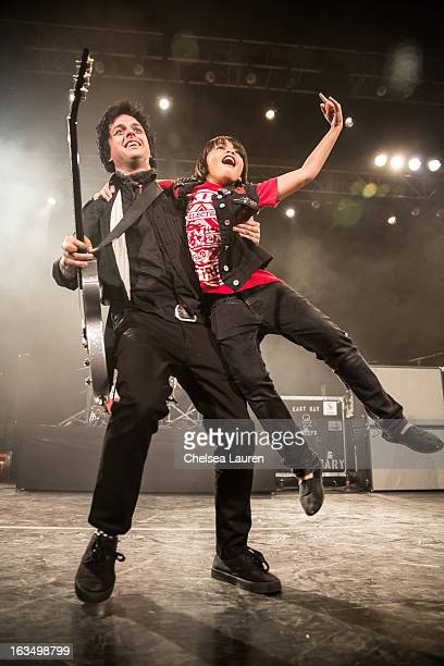 Vocalist / guitarist Billie Joe Armstrong of Green Day performs at Fox Theater on March 10 2013 in Pomona California