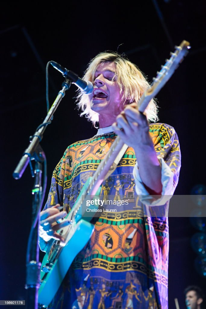 Vocalist / guitarist Christian Zucconi of Grouplove performs at Gibson Amphitheatre on November 24, 2012 in Universal City, California.