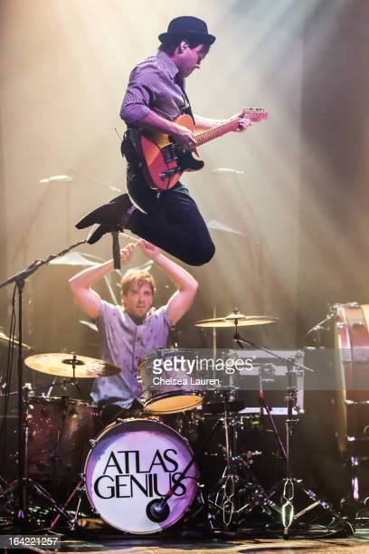 Vocalist / guitarist Keith Jeffery and drummer Michael Jeffery of Atlas Genius perform at The Wiltern on March 20 2013 in Los Angeles California