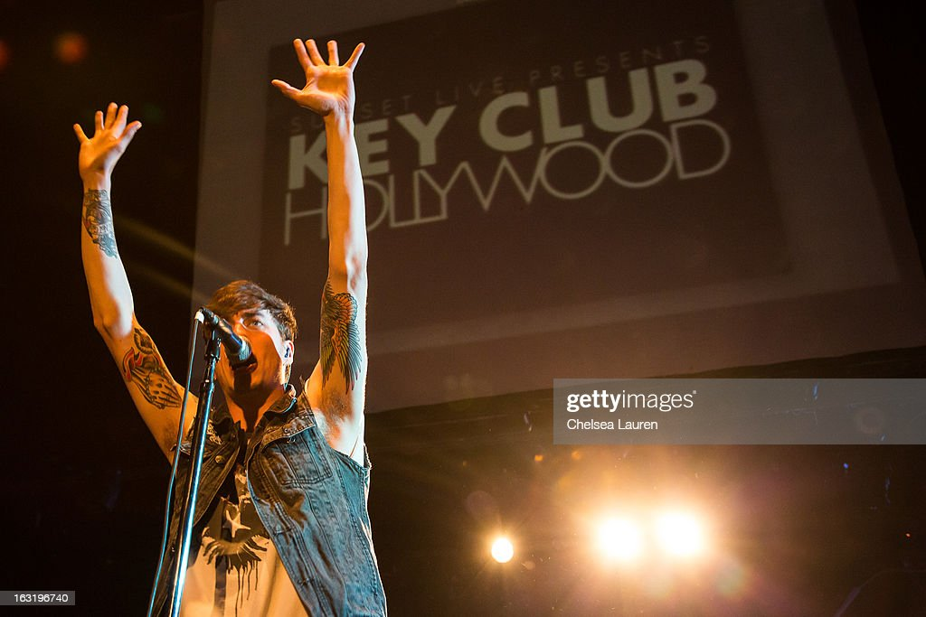Vocalist Gustav Wood of <a gi-track='captionPersonalityLinkClicked' href=/galleries/search?phrase=Young+Guns+-+Band&family=editorial&specificpeople=10987429 ng-click='$event.stopPropagation()'>Young Guns</a> performs at Key Club on March 5, 2013 in West Hollywood, California.