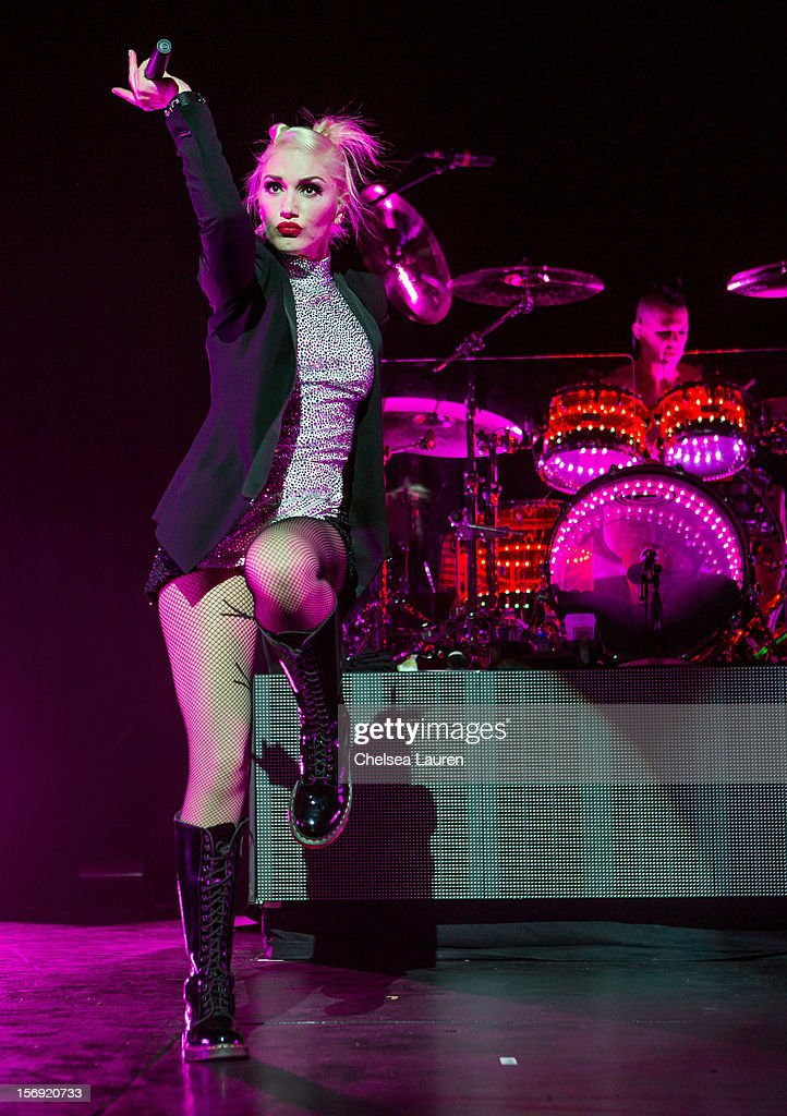 Vocalist <a gi-track='captionPersonalityLinkClicked' href=/galleries/search?phrase=Gwen+Stefani&family=editorial&specificpeople=156423 ng-click='$event.stopPropagation()'>Gwen Stefani</a> of No Doubt performs at Gibson Amphitheatre on November 24, 2012 in Universal City, California.
