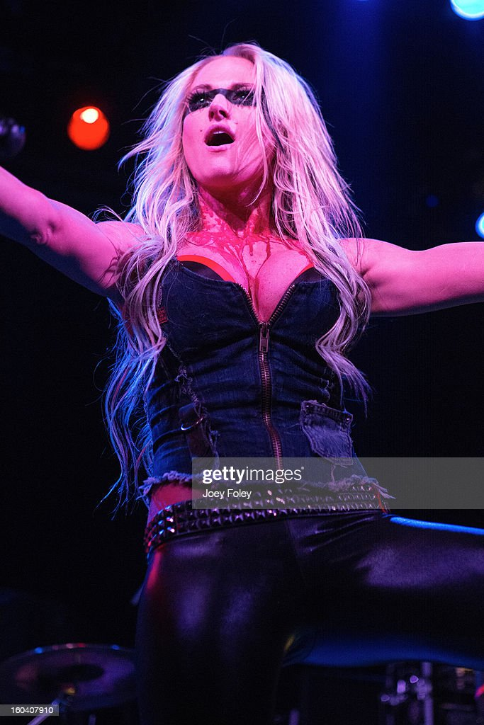 Vocalist Heidi Shepherd of Butcher Babies performs at Bogart's on January 19, 2013 in Cincinnati, Ohio.